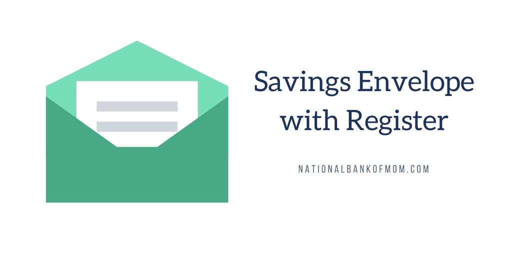 National Bank of Mom Savings Envelope with Register