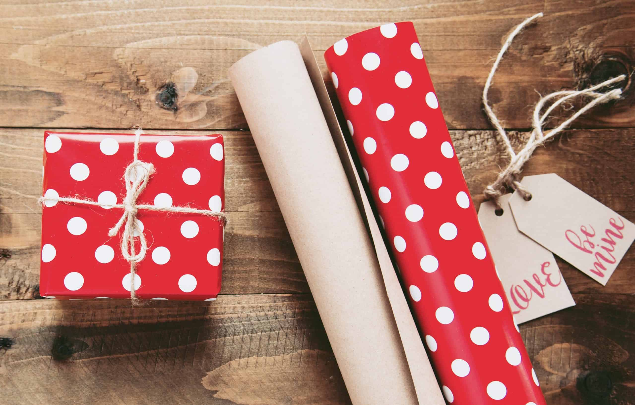 Christmas gift, wrapping paper and tags