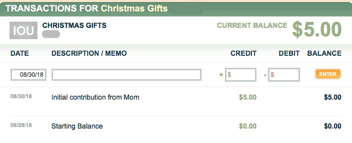 FamZoo initial contribution to IOU account