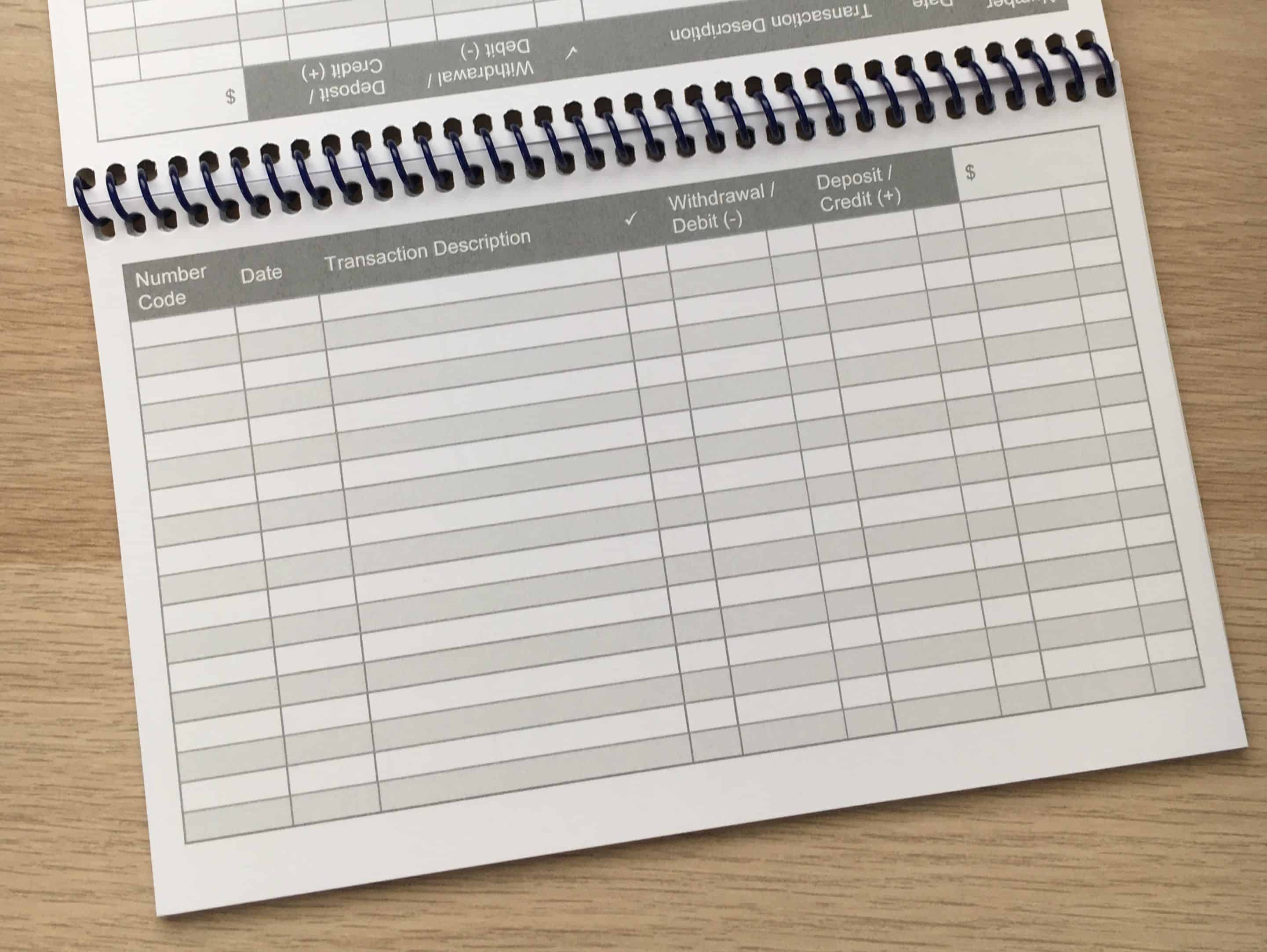 Checkbook register inside