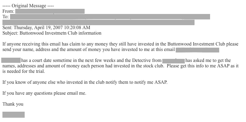 Email about investment club