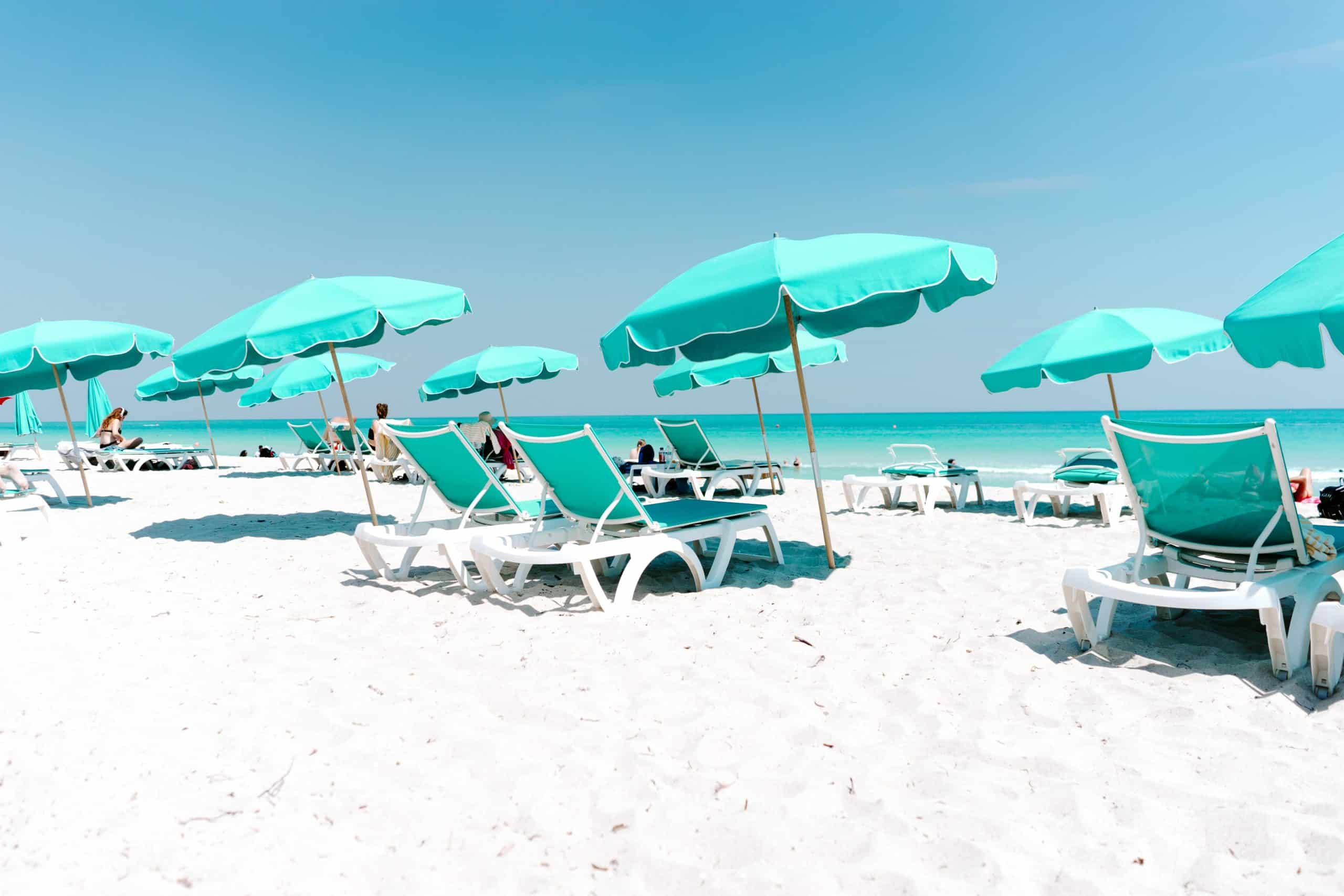 Beach chairs and umbrellas